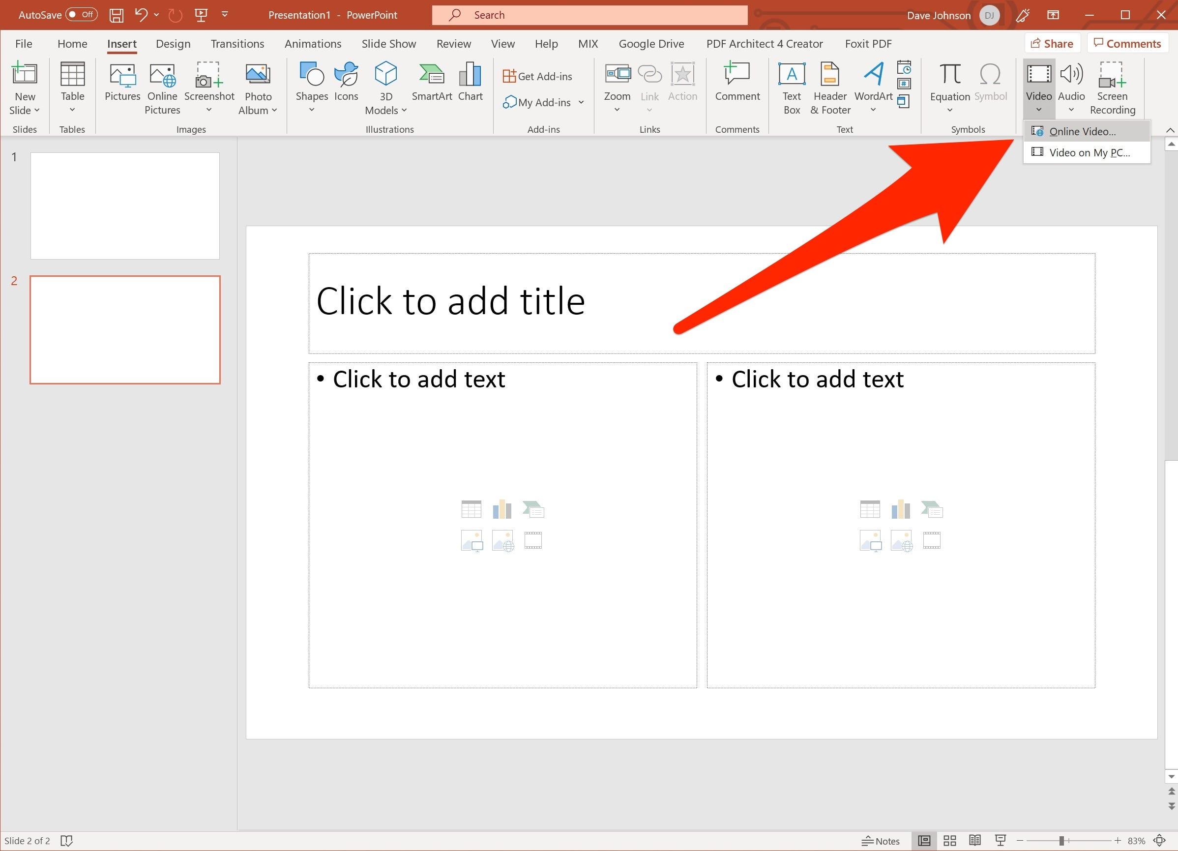Как вставить видео в  PowerPoint Online