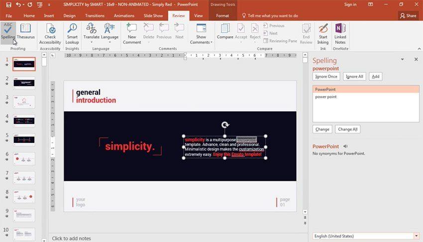 Как в PowerPoint Online отключить проверку орфографии