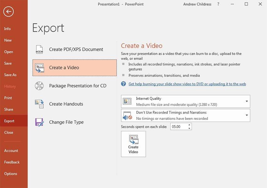 Как создать видео из презентации PowerPoint